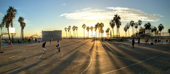 basketball court in the sun