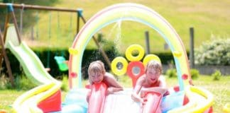 rainbow inflatable kiddie pool