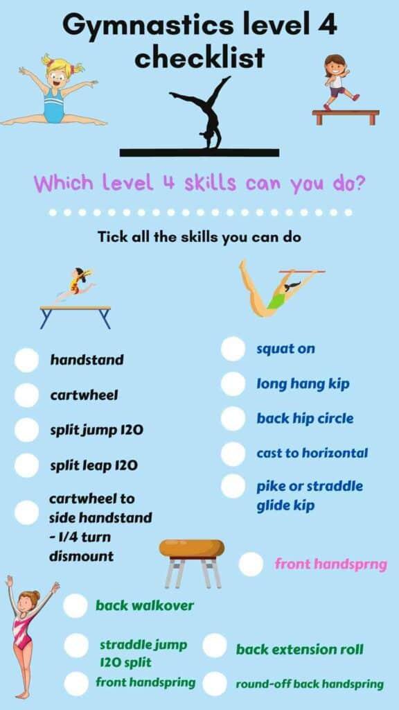 level 4 gymnastics requirements checklist